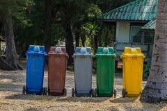 Colored Bins. Different Colored Bins For Collection Of Recycle Materials stock photography