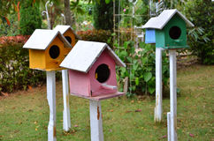 Colored bird houses Royalty Free Stock Image