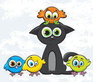 Colored birds and cat. Cartoon colored birds and black kitty Royalty Free Stock Image