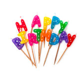 Colored birthday candles isolated on white Royalty Free Stock Photos