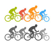 Colored and black flat cycling logo and icon. Stock Photography