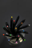 Colored  black pencils Royalty Free Stock Photo