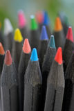 Colored black pencils royalty free stock photography