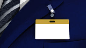 Colored blank badge with copyspace on a business m. 3D realistic render with colored blank badge on a business man suit Stock Photography