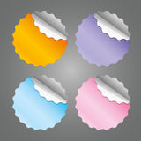 Colored blank round stickers - vector illustration. You can change the shape and color as you wish Stock Image