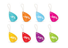 Colored blank sales tags Stock Image