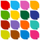 Colored blank stickers. 16 colored blank stickers. Modern vector illustration Royalty Free Stock Images