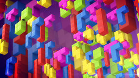 Colored blocks from retro tetris game. In 3d view. 3d rendirng Stock Photo