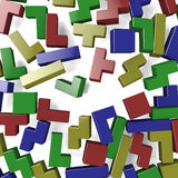 Colored blocks. Blocks of Tetris game scattered by explosion Stock Photos
