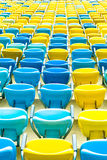 Colored blue and yellow seats Stock Images