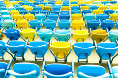 Colored blue and yellow seats Stock Photos