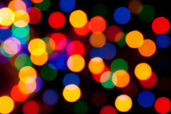 Christmas color lights bokeh Stock Images