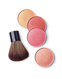 Colored blush and makeup brush Stock Photo