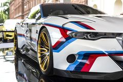 TURIN, ITALY - JUNE 9, 2016 A colored BMW 3.0 CLS Hommage R on display at Turin open air car show. A colored BMW 3.0 CLS Hommage R on display at Turin open Stock Image