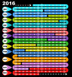 Colored board game calendar 2016. For design stock illustration