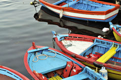Colored boats. On the sea royalty free stock image