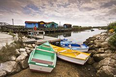 Colored Boats form Oleron. Oleron Island in France, colored boats royalty free stock images