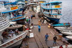 Colored boats in Manaus harbor - amazon river Stock Images