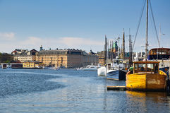 Colored boats in Stockholm Royalty Free Stock Photos