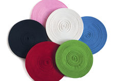 Colored bobbin of ribbons Royalty Free Stock Images