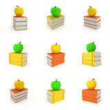 Colored book tower with apple Stock Image