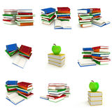 Colored book tower with apple Stock Photos