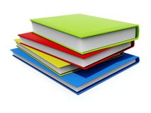 Colored books. Green, red, yellow and blue books isolated on white Royalty Free Stock Photo