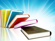 Colored books on background stock photo