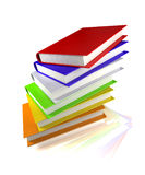 Colored books on glossy white Stock Photo