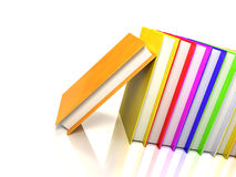 Colored books on glossy white Stock Photos