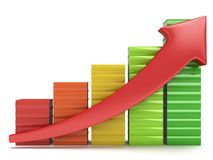 Colored books graph with red arrow Stock Images