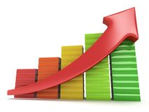 Colored books graph with red arrow Stock Image