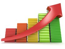 Colored books graph with red arrow Stock Photos