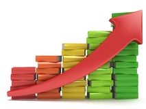 Colored books graph with red arrow Royalty Free Stock Photography