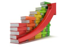 Colored books graph with red arrow Royalty Free Stock Photo