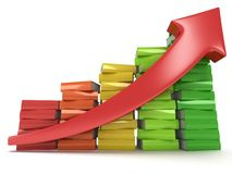 Colored books graph with red arrow Stock Photo