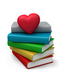 Colored books and heart. Stock Photos