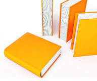 Colored books isolated on white background Stock Photo
