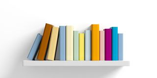Colored books on a shelf on white background. 3d illustration. Education concept. Books on a shelf on white background. 3d illustration Royalty Free Stock Photos