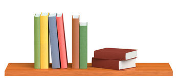 Colored books on wooden bookshelf. Colored books on simple wooden bookshelf isolated on white 3D illustration Stock Photos