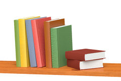 Colored books on wooden bookshelf. Colored books on simple wooden bookshelf isolated on white 3D illustration Royalty Free Stock Image