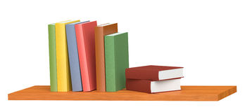 Colored books on wooden bookshelf. Colored books on simple wooden bookshelf  on white 3D illustration Royalty Free Stock Photos