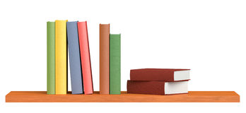 Colored books on wooden bookshelf. Colored books on simple wooden bookshelf  on white 3D illustration Royalty Free Stock Images