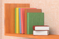 Colored books on wooden bookshelf on the wall. With pink wallpaper 3D illustration Stock Photography