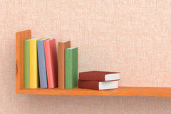Colored books on wooden bookshelf on the wall. With pink wallpaper 3D illustration Stock Photos