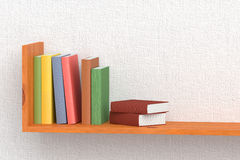 Colored books on wooden bookshelf. On the wall with white wallpaper 3D illustration Stock Images