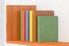 Colored books on wooden bookshelf. On the wall with white wallpaper 3D illustration Royalty Free Stock Photos