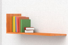 Colored books on wooden bookshelf. On the wall with white wallpaper 3D illustration Stock Photography