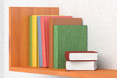 Colored books on wooden bookshelf. On the wall with white wallpaper 3D illustration Royalty Free Stock Images