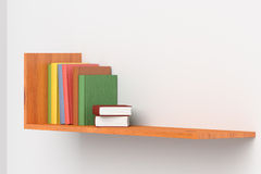 Colored books on wooden bookshelf on white wall. 3D illustration Royalty Free Stock Images